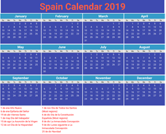 Bank Holidays Spain 2019